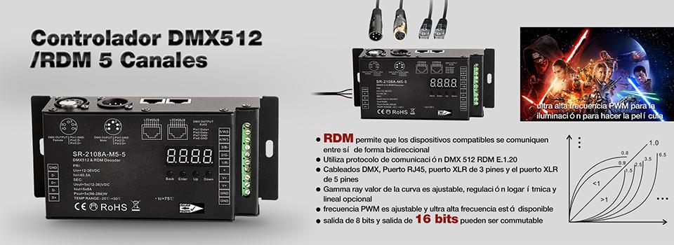 Controlador DMX512/RDM 5 Canales